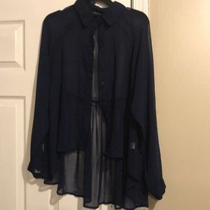 Sheer navy blue blouse size M